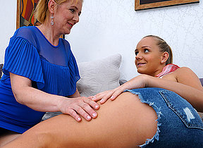 Two naughty elderly and young lesbians development by fair means