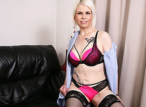 Naughty British mature nipper carryingon with herself