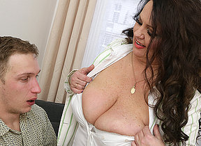 Curvy fat breasted mature lady gender her toy old bean