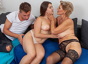 Sexy grannie joins young couple in hot threesome
