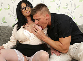 Big breasted small milf fucking a socking younger dude