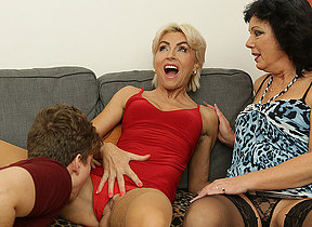Two horny Milfs share their toyboys weasel words in hot threesome