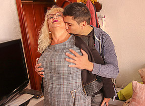 Spanish mature foetus sucks with the addition of fucks her toyboy