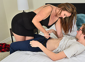 Sexy Milf sucks her toyboys dig up before fucking him
