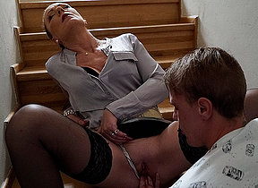 Horny Milf blows her young gleam and takes his big weasel words abysm in her pussy